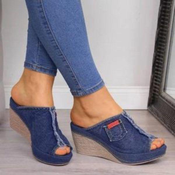כפכפי ג'ינס פלטפורמה