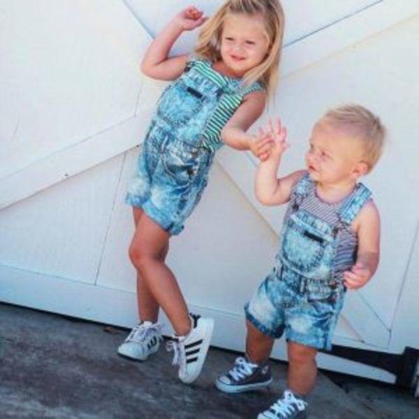 אוברול ג'ינס קצר לילדים