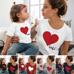 חולצת טישרט תואמת לאמא ולילדה לב ♥