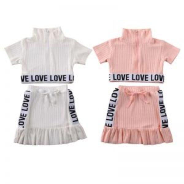 סט חולצה וחצאית LOVE לילדות