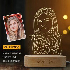 מנורת לילה 3D עם עיצוב מותאם אישית