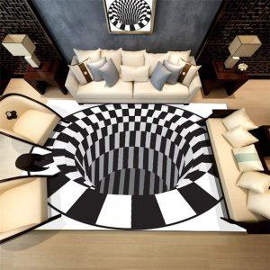 שטיח מערבולת שחור לבן