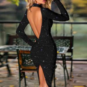 שמלה שחורה LBD זוהרת