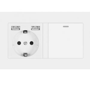 שקע חשמל USB + מתג תאורה